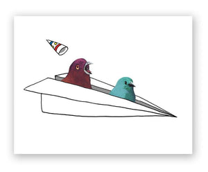 Bird in a Plane Card
