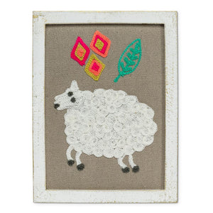 Embroidered Sheep Wall Decor