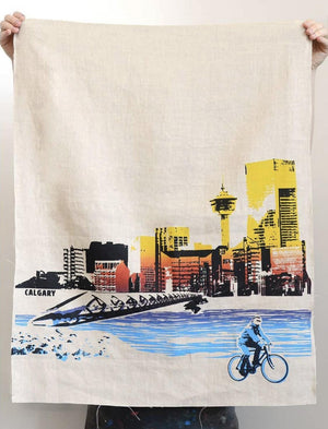 Calgary Handprinted Dishtowel