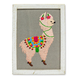 Embroidered Llama Wall Decor