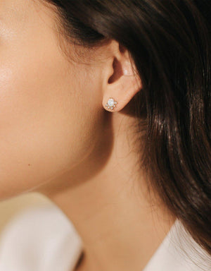Juno Stud Earrings - Gold/Opal