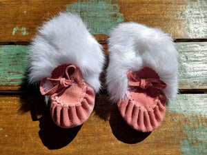Baby Moccasins - Flamingo Suede With Fur