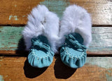 Baby Moccasins - Turquoise Suede With Fur