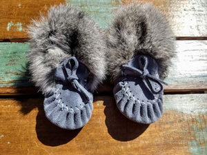 Baby Moccasins - Sky Blue Suede with Fur