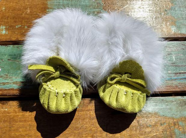 Baby Moccasins - Green Apple Suede with Fur