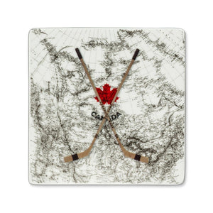 Canada Map with Hockey Sticks Coaster