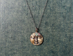 All That Ever Was Citrine, Emerald & Ruby Crown Moon Necklace