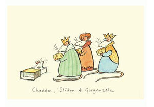 Cheddar, Stilton & Gogonzola Mice Card