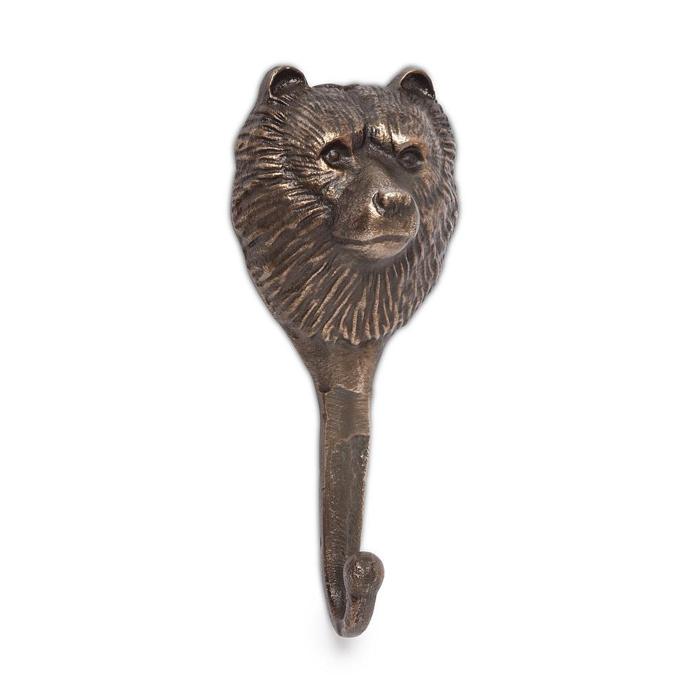 Antiqued Brass Bear Head Hook
