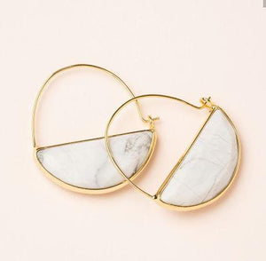 Howlite & Gold Prism Hoop Earrings