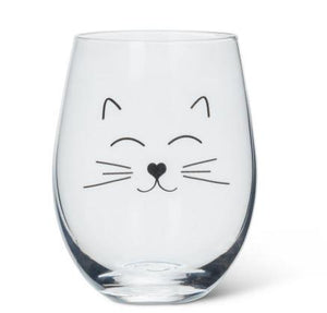 Cat Face Stemless Wine Glass
