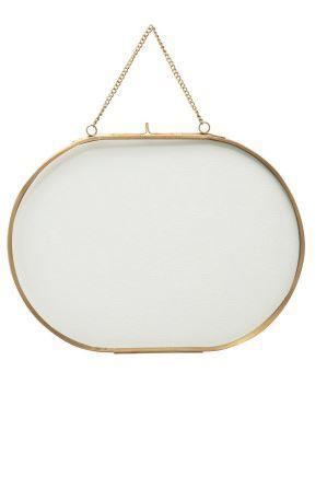 Hanging Oval Brass Picture Frame