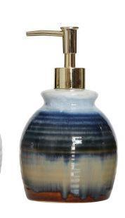 Blue Stoneware Soap Pump