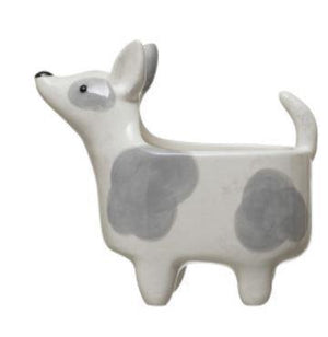 Grey & White Dog Planter
