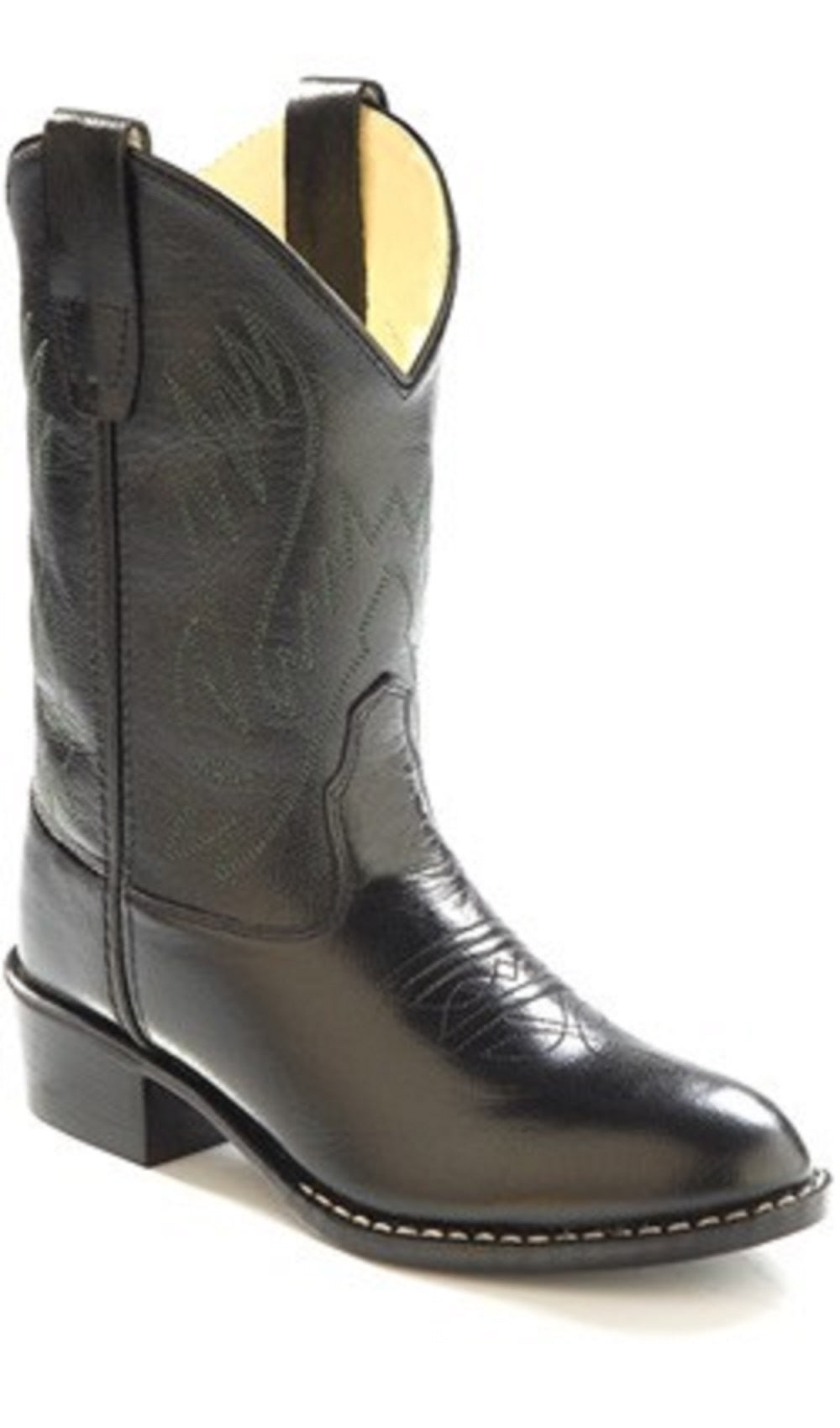 412b7c046cc Old West Kids Western Boots Black Corona Calf Leather Item OW-1110