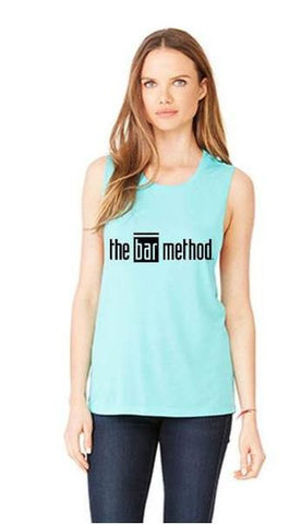 Bar Method Muscle Tank - Black TBM Logo - Teal