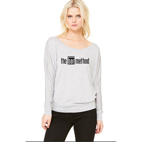 Bar Method Cold Shoulder Long Sleeve Tee - Bar Method Logo