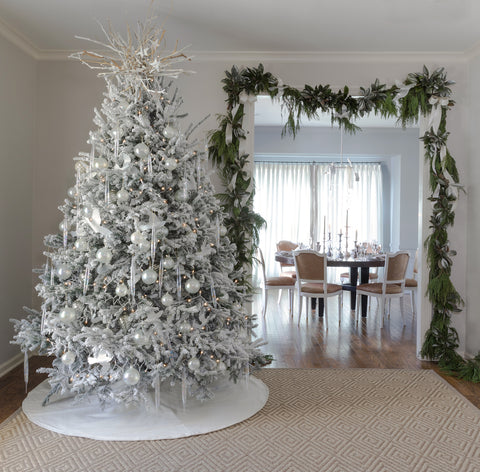 Fig & Dove - Designer Decorating Tips for An Elevated Christmas - Flocked Christmas Tree