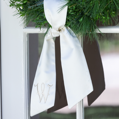 Ivory Wreath Sash with Monogram for Newlyweds