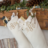Personalized Cream Christmas Stockings