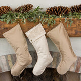 Cream and Gold Christmas Stockings on the Fireplace Mantle
