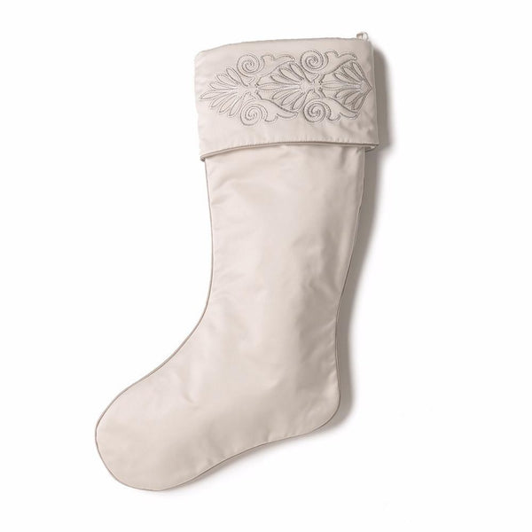 Cream Christmas Stocking with Embroidered Cuff