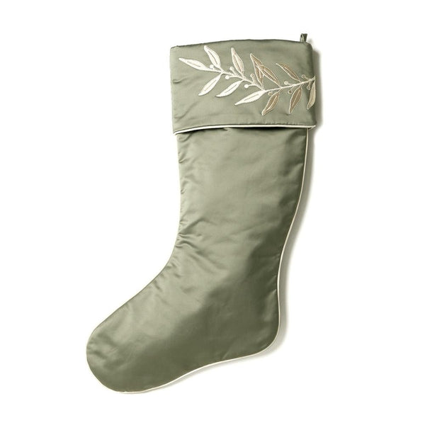 Evergreen Christmas Stocking with Laurel Embroidered Cuff