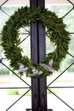 Fresh Bay Leaf Wreath Decorated with Three Acrylic Christmas Dove Ornaments