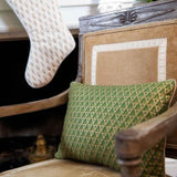 Green and Gold Italian Fabric Pillow