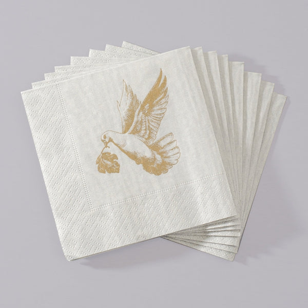 Beverage Napkins with Golden Dove  by Alexa Pulitzer