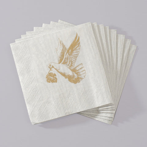 Beverage Napkins with Gold Dove