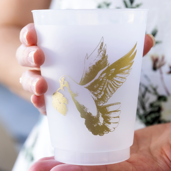 16 oz party cup with gold foil dove