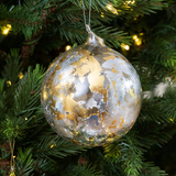 Gold & Silver Leaf Glass Ornament