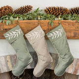 Coordinating Green and Gray Christmas Stockings