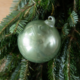 Set of 6 Green Glass Ornaments