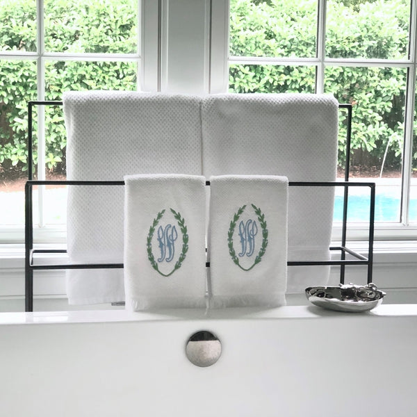 Laurel Wreath Cotton Bath and Hand Towels