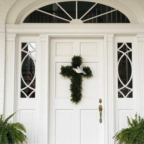 Cross Boxwood Wreath