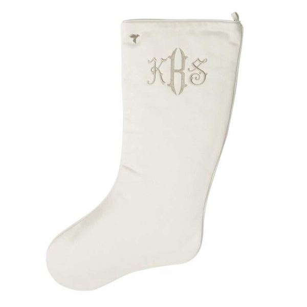 Gold Monogram on Ivory Christmas Stocking