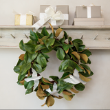 Elegant Magnolia Wreath with Three Acrylic Dove Ornaments
