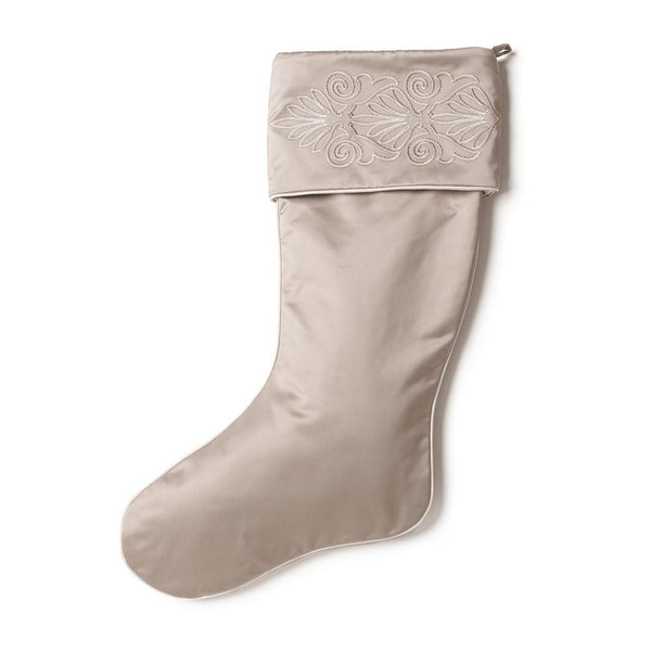 Pewter Nobilis Christmas Stocking with Embroidered Cuff