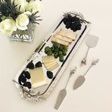 Olive Branch Cheese Knife Set with Matching Stainless Steel Tray