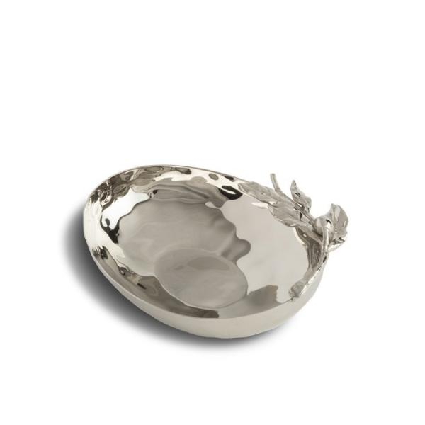 Small Stainless Steel Bowl with Olive Branch Design