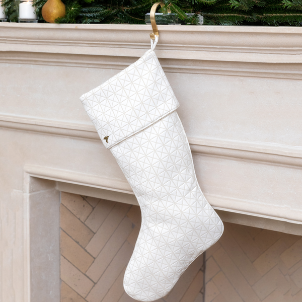 Gold Quilted Christmas Stocking with Cuff