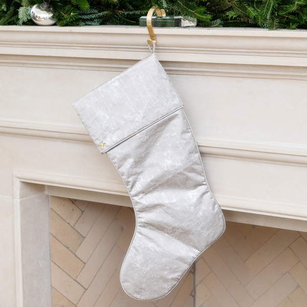 Silver Grain Christmas Stocking with Cuff