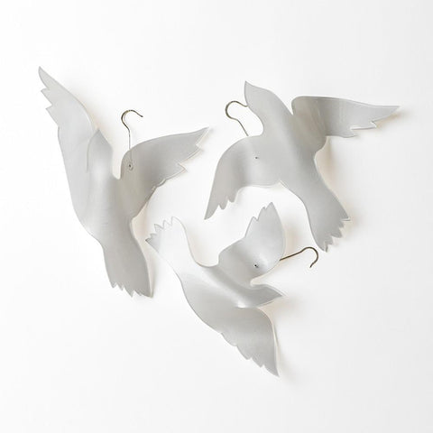 Trio of Large Dove Christmas Ornaments
