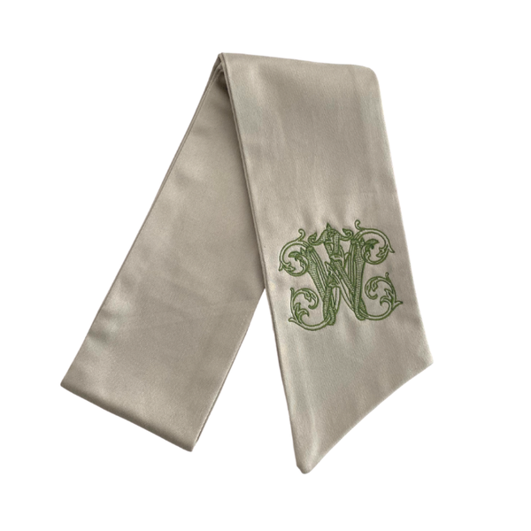 Gray Monogrammed Wreath Sash