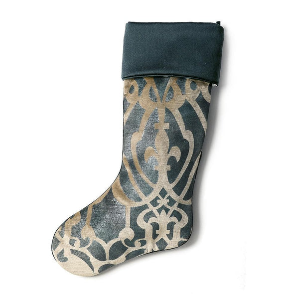 Vienna Green Velvet Christmas Stocking with Cuff