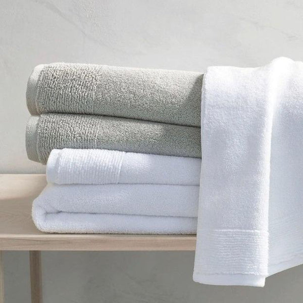 Monogrammed Dove Gray Cotton Bath and Hand Towels