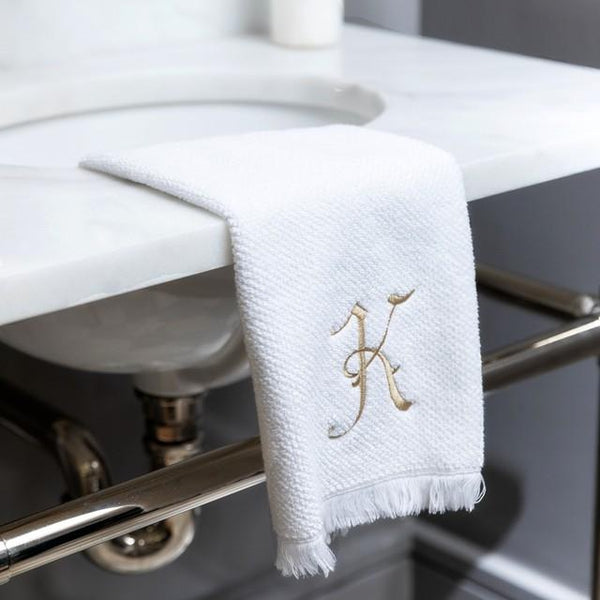 Monogrammed Fringed Cotton Bath and Hand Towels