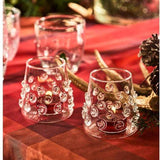 Set of Votives with Glass-Applied Swirls